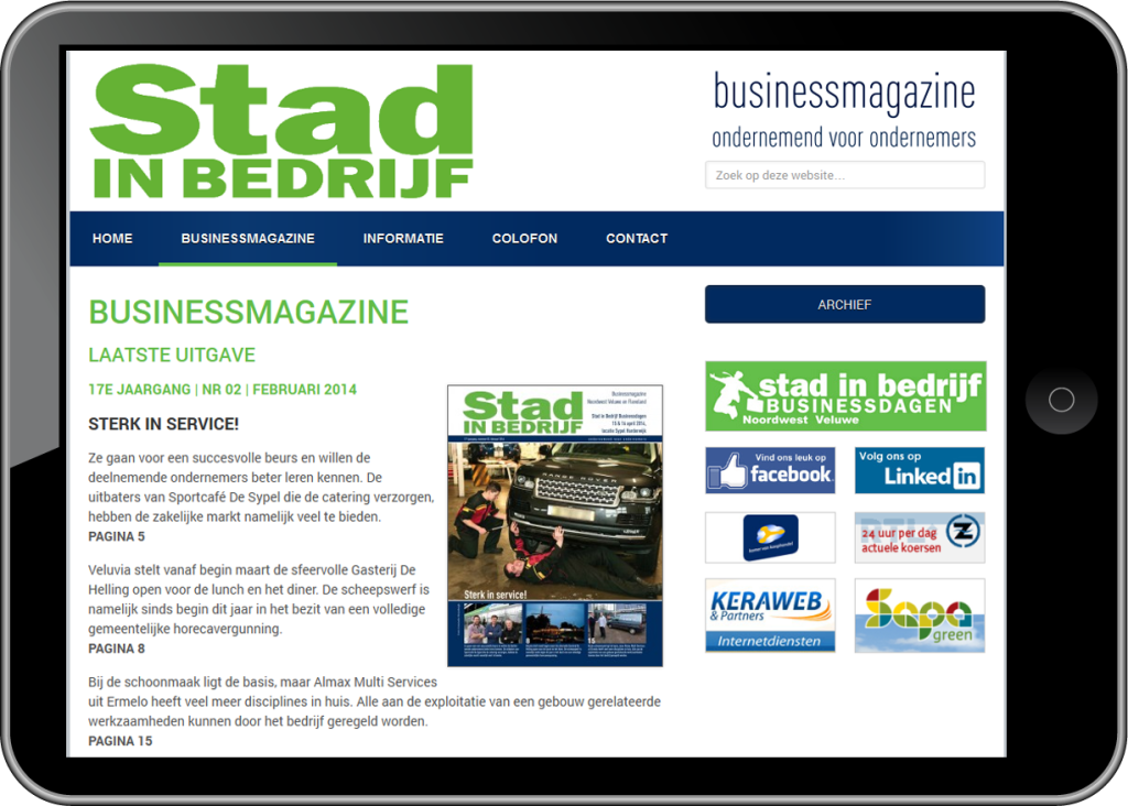 WordPress website - Stad in Bedrijf - iPad landscape